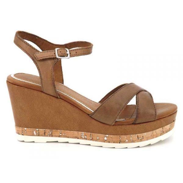 ... Marco Tozzi, sandale nu pieds compensé 2-28721-20 cognac (marron) ...