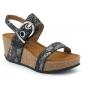 Sandale compensée Les P'tites Bombes Kalie noir, nu pieds liège et cuir