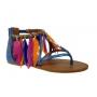 Chaussures-nu-pieds Metamorf ose Tadloc bleu, look tribal