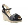 Kelara espadrille compensée, sandale cordes glitter noir, K62242