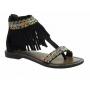Sandales Métamorf'Ose Zaccin cuir noir | Nu pieds à franges et perles