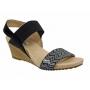 Fugitive Valrio noir, sandale compensée femme